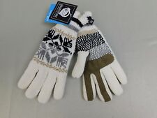 Isotoner SmarTouch Chenille Touch Screen Snowflake Print Gloves OSFM Ivory #5908