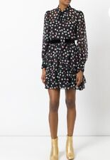 Marc Jacobs 100% Silk Polka Dot Long Sleeves Tie Neck Dress Size 2 New