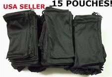 15 Black Micro Fiber Sunglasses Sunglass Carrying Pouch Case Bag Storage Sleeve