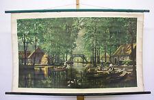 Belles anciennes écoles carte spreewald suis kahnfahrten 120x72 vintage map 1958