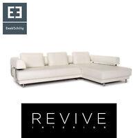 Ewald Schillig Leder Ecksofa Weiß Sofa Couch #14352