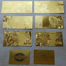 BANCONOTE DOLLARI $1-2-5-10-20-50-100 IN FOGLIA D'ORO 24KT Lot of Banknotes Gold
