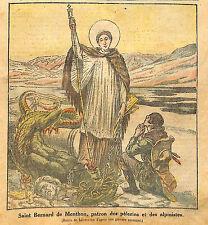 SAINT BERNARD DE MENTHON DIABLE DEVIL DRAGON DESSIN LECOULTRE ILLUSTRATION 1923