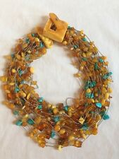 VINTAGE MULTI STRAND AMBER & TURQUOISE CHOKER NECKLACE COLLAR