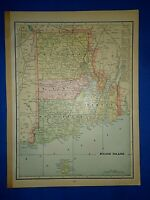 Vintage 1899 Atlas Map ~ RHODE ISLAND ~ Old Antique & Authentic ~ Free S&H