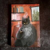 Smoking Black Cat Original Miniature 6 in x 4 in acrylic painting on canvas