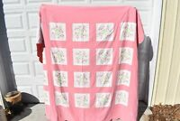 Cross Stitch Tulips Quilt Pink White Queen Full Bed Cotton Handmade Scalloped