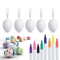 Easter 50pcs Plastic Easter Eggs DIY Easter Eggs Plastic Eggs 8pcs Color Pens US