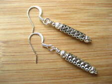 Handmade Silver Plated Pear Costume Earrings