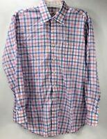 Peter Millar Men's Long Sleeve Button Up Plaid Dress Shirt White Blue Pink L