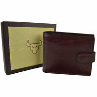 NEW Mens QUALITY Italian Leather Tab Bi-Fold WALLET by Kenneth Brownne Gift Box