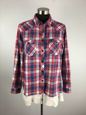 Altard State Womens Top M Red Blue White Plaid Lace Hem Snap Front Boho Western