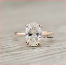 3Ct Oval Cut Moissanite Solitaire Engagement Ring Solid In 14k Rose Gold