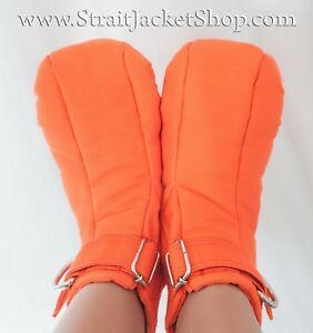 Prison Restraining Booties - Orange Soft Padded Booties for Prisoners / Bondage