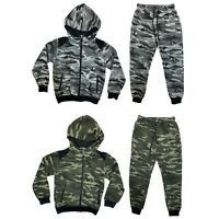 Boys Kids Tracksuit Camouflage Jacket Jogger Jogging Bottoms Camo Outfit Set Zip