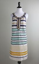 CALYPSO ST. BARTH $298 Panel Striped 100% Silk Shift Dress Size Small