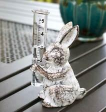 Country Bunny Rain Gauge Farmhouse Primitive Rustic Cast Iron Garden Rabbit Yard