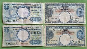 Lot Banknotes from Malaya & British Borneo 1 dollar 1941 - 1959