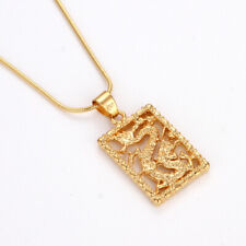 "18k Yellow Gold Filled Men's/Women's Dragon Pendant Charms Necklace 18"" Jewelry"