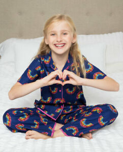 Cyberjammies Girls Daisy Navy Rainbow Print Pyjama Set Short Sleeve Size 2-13