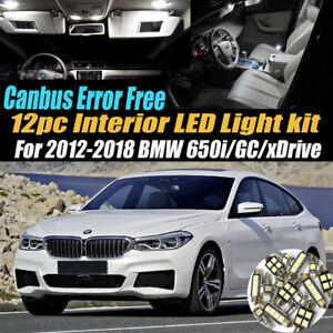 12Pc Error Free Interior LED White Light Kit for 2012-2018 BMW 650i/GC/xDrive