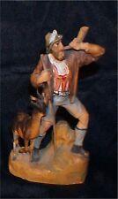 Tiny Ornate Anri Carved Wood Figure Alps Goat Horn Blower Figure