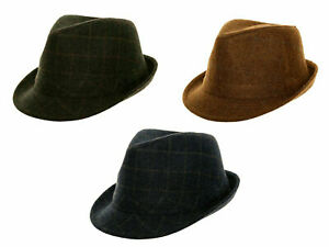 ADULTS TWEED TRILBY FEDORA WOOL MIX CLASSIC COUNTRY HAT MENS WOMENS LADIES CAP
