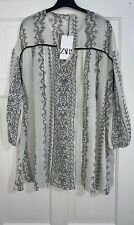 ZARA OYSTER WHITE PRINTED LOOSE-FITTING BLOUSE WITH TIE DETAIL SIZE M BNWT