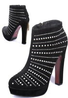 New Womens Ladies Black Studded High Heel Ankle Boots Size UK 3/4  EUR 36 / 37