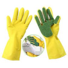Scrub Gloves Dish Washing Clean Silicone Sponge Rubber Soft Scouring Kitchen SE