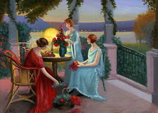 Ladies lake lamp table flowers evening landscape OE aceo print art