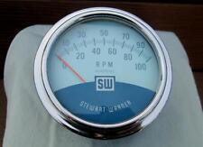 Vintage Stewart Warner Twin Blue 10,000 RPM Tachometer 10K Tach 810908 Jan 1965!