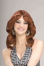 Womens Auburn Red Disco Wig Long Shoulder Length Hair Wavy 70s Costume Adult NEW
