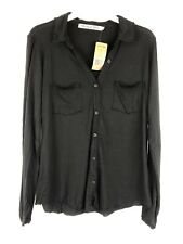 Michael Stars, Women's Ultra Jersey Long Sleeve Black Button Down Shirt,One Size