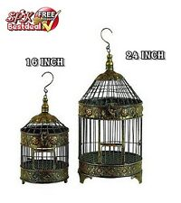 Round Dome Bird Cage Animal Pet Aviary Hanging Hook Parakeet Metal Antique Decor