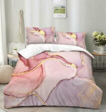 Gilded Stone Texture Pink Duvet Cover Queen Bedding Comforter Cover Pillow Case