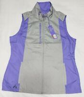 NEW Antigua Womens Gray Purple Golf Sleeveless Full Zip Jacket Vest Size Medium