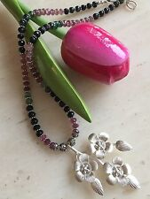 *HEAVY* STUNNING MULTI COLOUR TOURMALINE & 925 STERLING SILVER PENDANT NECKLACE