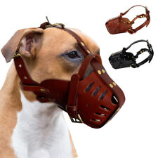 Pitbull Dog Muzzle Leather Adjustable Anti Bite Secure Basket for Training Dogs