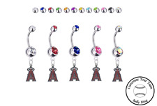 Ring - Customize Gem Color - New Los Angeles Angels Silver Belly Button Navel