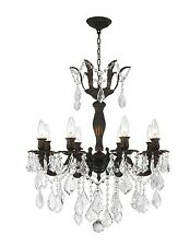 "8-Light Flemish Brass Finish 23'' x 25"" Diana Crystal Chandelier Light"