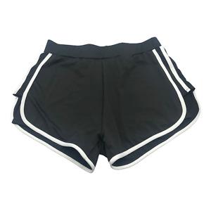 Women's Basic Shorts Black Under Pants White Stiped Stretch Athletic Wears XL