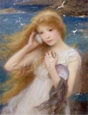 Sea Nymph Mermaid Seagulls Seaweed Shells Ocean Beach *Canvas* Fantasy Art Print