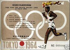 OLYMPICS Tokyo 1964 Rail Pass Summer Olympic Games - reprint