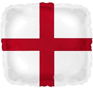 St George balloon England English flag helium foil balloon square red cross