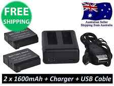 2x 1600mAh Li-Ion Battery AHDBT-401 Dual USB Charger GoPro HD Hero 4 Accessories