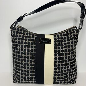 Kate Spade Medium Serena Dot Noel Canvas Hobo Bag Jacquard Black White Purse
