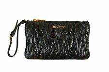 Authentic Miu Miu Matelasse'Lux black clutch bag_New_Authentic