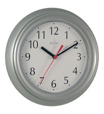 Acctim Wycombe Kitchen Bathroom Bedroom Office Round Wall Clock - Silver