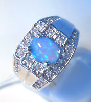 "GORGEOUS BLUE  FIRE OPAL/WHITE TOPAZ   RING UK Size ""R"" US 9"